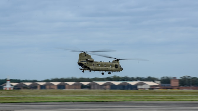 Alaska Guard UH-60 helicopter offload at McEntire
