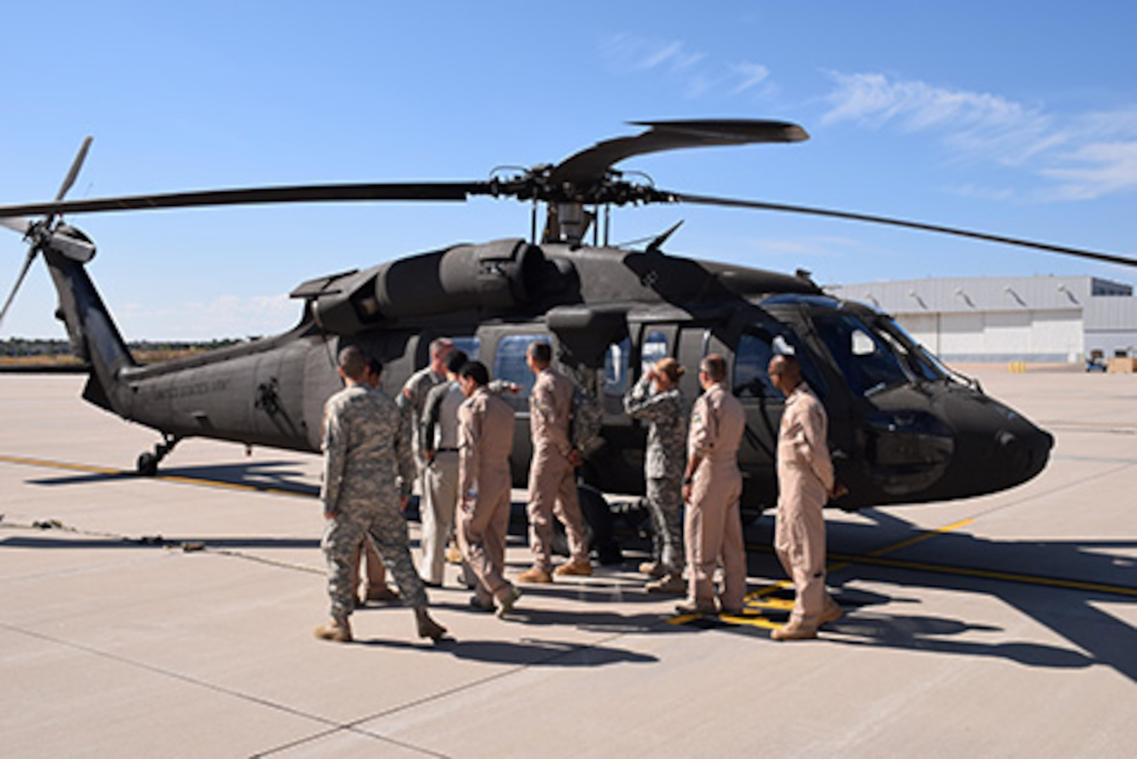 Colorado Army National Guardsmen and Jordan Armed Forces participate in a State Partnership Program exchange for rotary wing pilots at Buckley Air Force Base, Aurora, Colorado, Sept. 8, 2015. (U.S. Army National Guard photo by Staff Sgt. Joseph K. VonNida/RELEASED)