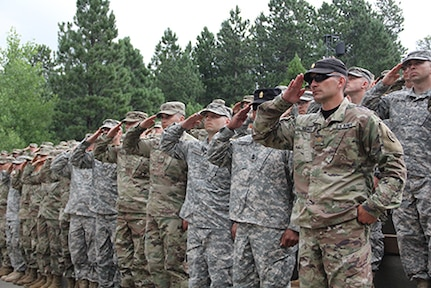 MOUNT RUSHMORE NATIONAL PARK, S.D. – The officer candidate school class number 60 graduates July 27, 2018, at Mount Rushmore National Park, S.D. The OCS class completed weeks of continuous training in all types of weather.