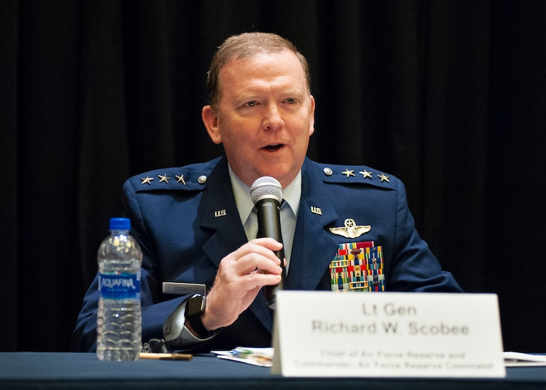Lt. Gen. Richard Scobee, Chief of the Air Force Reserve and Commander Air Force Reserve Command, speaks during a total force integration panel during the Air Force Association Air, Space and Cyber Conference Sept. 18, 2018, in National Harbor, Md. The panel discussed how to improve processes and better utilize Guard and Reserve Airmen in Air Force operations. (U.S. Air Force photo by Andy Morataya)