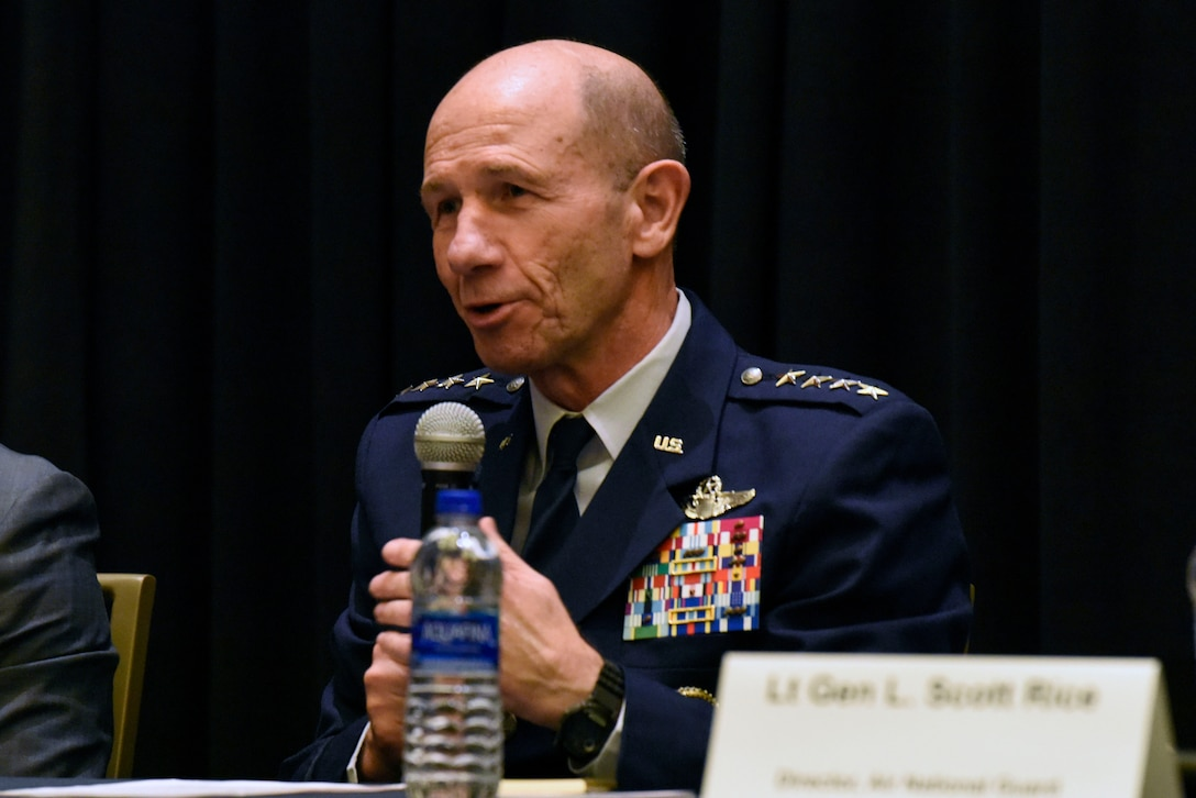 Gen. James M. Holmes, Air Combat Command commander, participates in a panel about the total force during the Air Force Association's Air, Space and Cyber Conference Sept. 18, 2018, in National Harbor, Md. ASC18 is a professional development conference that offers an opportunity for Department of Defense personnel to participate in forums, speeches, seminars and workshops. (U.S. Air Force photo by Airman 1st Class Zoe M. Wockenfuss)