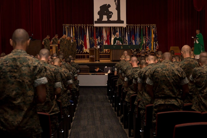 Recruits with India Company, 3rd Recruit Training Battalion, attend a chapel service at Marine Corps Recruit Depot San Diego, Sept. 9.