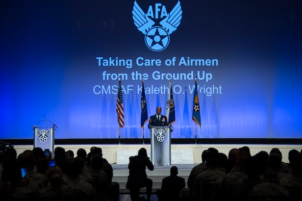 Chief Master Sgt. of the Air Force Kaleth O. Wright speaks on resiliency during the Air Force Association's Air, Space and Cyber Conference in National Harbor, Md., Sept. 19, 2018. During his speech, Wright spoke about the importance of taking care of yourself and each other. (U.S. Air Force photo by Tech. Sgt. DeAndre Curtiss)