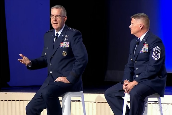 Air Force Gen. John E. Hyten, commander of U.S. Strategic Command, and Air Force Chief Master Sgt. Patrick F. McMahon, U.S. Stratcom Senior Enlisted Leader, discussed multi-domain operations and combatant command priorities during panel at the Air, Space & Cyber Conference at National Harbor, Md., Sept. 19, 2018. Screenshot via defense.gov