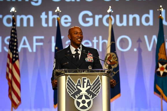Chief Master Sgt. of the Air Force Kaleth O. Wright gives his speech on resiliency during the Air Force Association Air, Space and Cyber Conference in National Harbor, Md., Sept. 19, 2018. During his remarks, Wright spoke about the importance of Airmen taking care of themselves and each other. (U.S. Air Force photo by Staff Sgt. Rusty Frank)