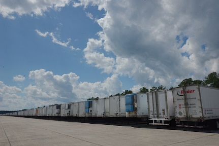 Goods and commodities are stored at Joint Base Charleston's North Auxiliary Airfield located in the town of North, S.C.. Sept. 17, 2018, in support of Hurricane Florence relief efforts. The NAAF serves as a staging area where humanitarian assets are gathered and sent out to areas affected by Hurricane Florence.