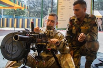 U.S. and Indian Soldiers Share Weapons Knowledge during Exercise Yudh Abhyas