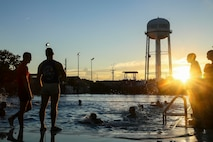 Recruits with Alpha Company practice swim qualification aboard Marine Corps Recruit Depot Parris Island Sept. 12, 2018.