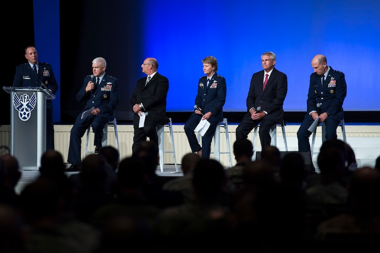 Gen. James M. Holmes, Air Combat Command commander, talks about overcoming the national pilot shortage during the Air Force Association's Air, Space and Cyber Conference in National Harbor, Md., Sept. 18, 2018. The ASC18 is a professional development conference that offers an opportunity for Department of Defense personnel to participate in forums, speeches, seminars and workshops. (U.S. Air Force photo by Tech. Sgt. DeAndre Curtiss)