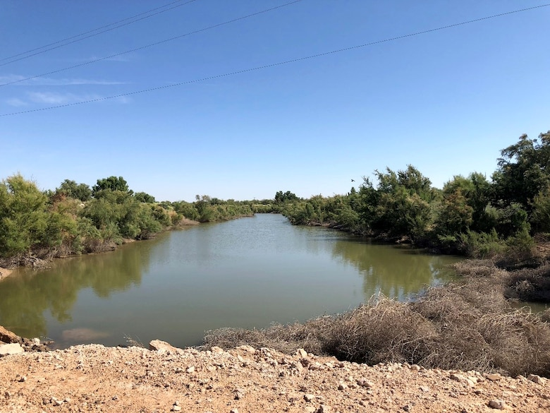 The Pecos River backs up behind this unauthorized dam built by the  built by Loving County Water Improvement District.
