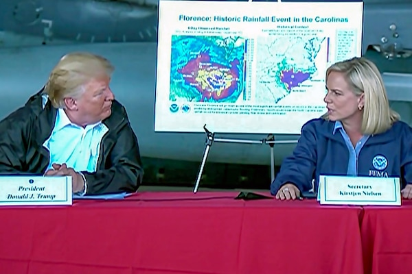 President Donald J. Trump holds a roundtable briefing to discuss Hurricane Florence relief and recovery efforts at Marine Corps Air Station Cherry Point, N.C., Sept. 19, 2018. Screen via Defense.gov