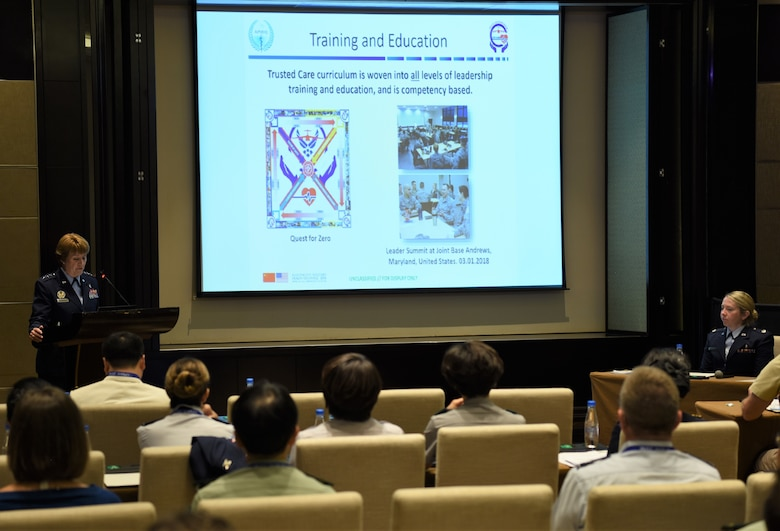 Lt. Gen. Dorothy Hogg, U.S. Air Force Surgeon General, delivers a presentation titled 'Leveraging Change Management to Steer the Air Force Medical Service Toward Zero Harm,' to a multinational audience of medical professionals at the Asia Pacific Military Health Exchange (APMHE) 2018, in Xi'an, China Sept. 18, 2018.