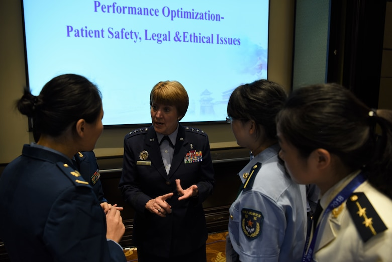 Lieutenant General Dorothy Hogg, U.S. Air Force Surgeon General, engages with attendees at the Asia Pacific Military Health Exchange 2018 Sept. 18, 2018, after delivering a presentation and answering questions on leveraging change management to improve results in military medical care.
