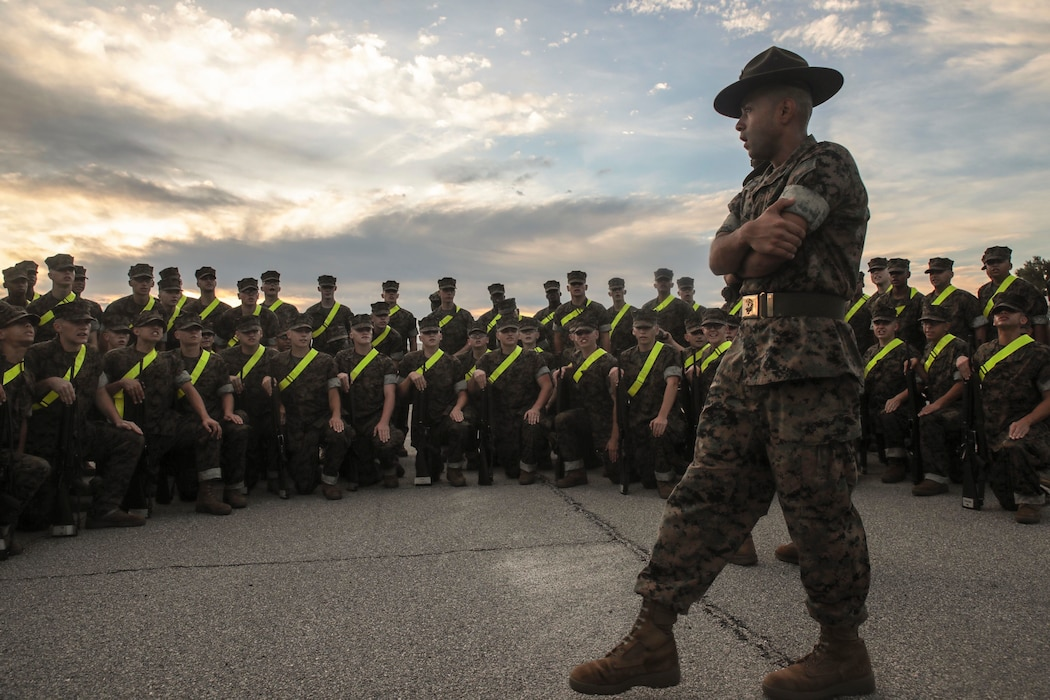 Recruits with India Company, 3rd Recruit Training Battalion, prepare and practice for their initial drill evaluation on Peatross Parade Deck Sept. 14, 2018 on Marine Corps Recruit Depot Parris Island, S.C.