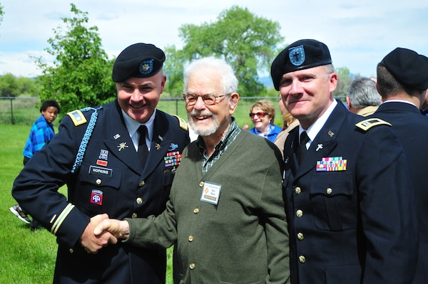 Memorial ceremony for Brig. Gen. Felix Sparks at Crown Hill Cemetery Wheat Ridge, Colorado, as part of the final reunion of the 157th Infantry Regimental Association, including 1/157th Infantry Veterans from World War II and their families, hosted by member of the 1st Battalion 157th Infantry, Colorado Army National Guard, May 31, 2015. (U.S. Army National Guard photo by 1st Lt. Skye Robinson/Released)