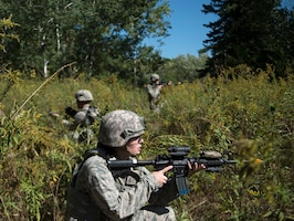 U.S. Air Force Airmen from the 133rd Security Forces Squadron, watch their sectors at the Arden Hills Army Training Site, Arden Hills, Minn., Sept., 16, 2018.