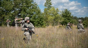 U.S. Air Force Airmen from the 133rd Security Forces Squadron set up a 360 degree perimeter at the Arden Hills Army Training Site, Arden Hills, Minn., Sept., 16, 2018