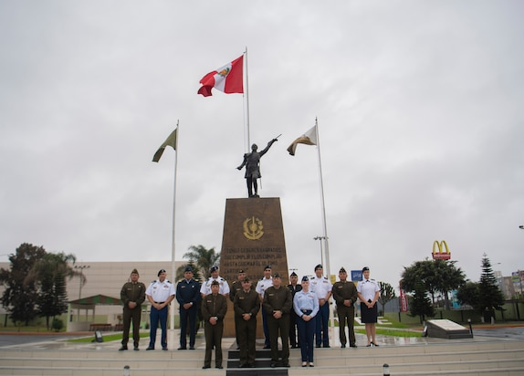 Members of the West Virginia National Guard and U.S. Army South pose for a photo with the leadership from the Peruvian Army, Air Force and Navy Sept. 10, 2018 in Lima, Peru.