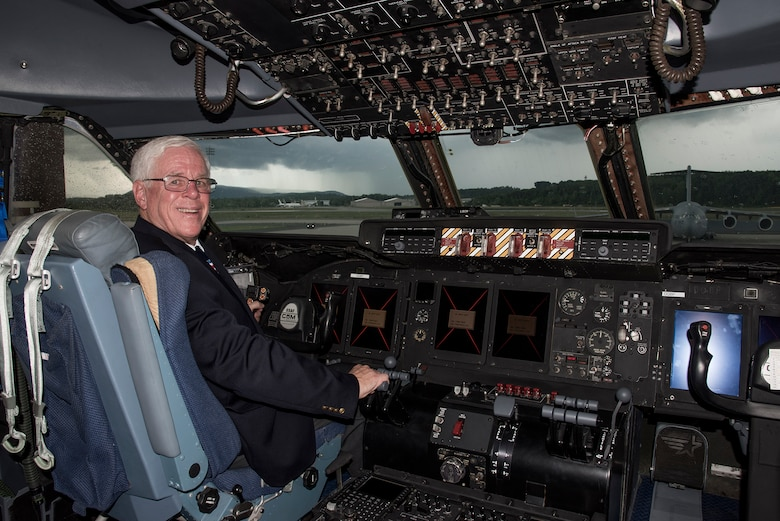 Rich Butler, Air Mobility Command C-5 requirement manager, walks through a C-5M Super Galaxy, Aug. 2, 2018. Butler was on the final flight where the Air Force and Lockheed Martin completed its last C-5M Super Galaxy upgrade on Aug. 6, 2018, a flight that was 18 years in the waiting. (U.S. Air Force photo by Staff Sgt. Julio A. Olivencia Jr.)