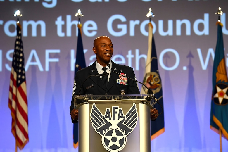 Chief Master Sgt. of the Air Force Kaleth O. Wright gives his speech on resiliency during the Air Force Association Air, Space and Cyber Conference in National Harbor, Maryland, Sept. 19. During his remarks, Wright spoke about the importance of Airmen taking care of themselves and each other.
