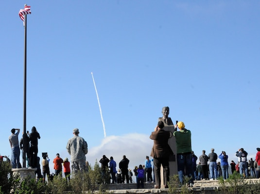 A crowd watches at the Ronald Reagan viewing site at Vandenberg Air Force Base in California as the Missile Defense Agency launches its Ground-based Interceptor Jan. 26, 2013. The Exoatmospheric Kill Vehicle, the payload of a Ground-Based Interceptor, uses the kinetic energy from a direct hit to destroy an incoming target. (Army National Guard photo by Sgt. Benjamin Crane/RELEASED)