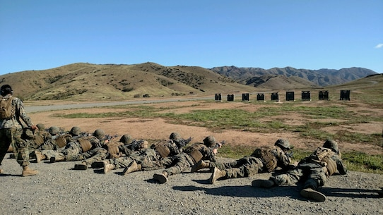 Bravo Co. Marines sight in on their targets during an unknown distance shoot in June 2018