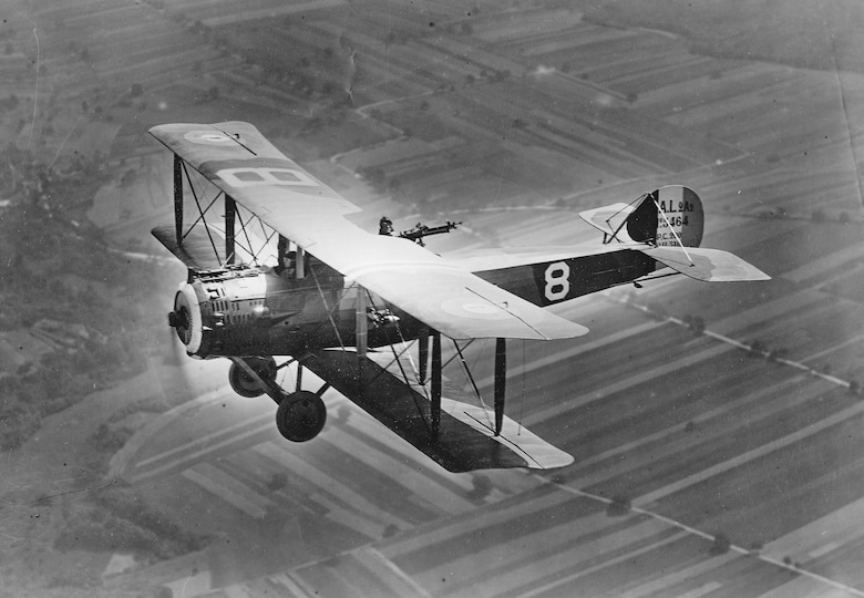 A Salmson 2A2 of the 1st Aero Squadron over France during World War I, 1918. (U.S. Army Air Service Courtesy photo)
