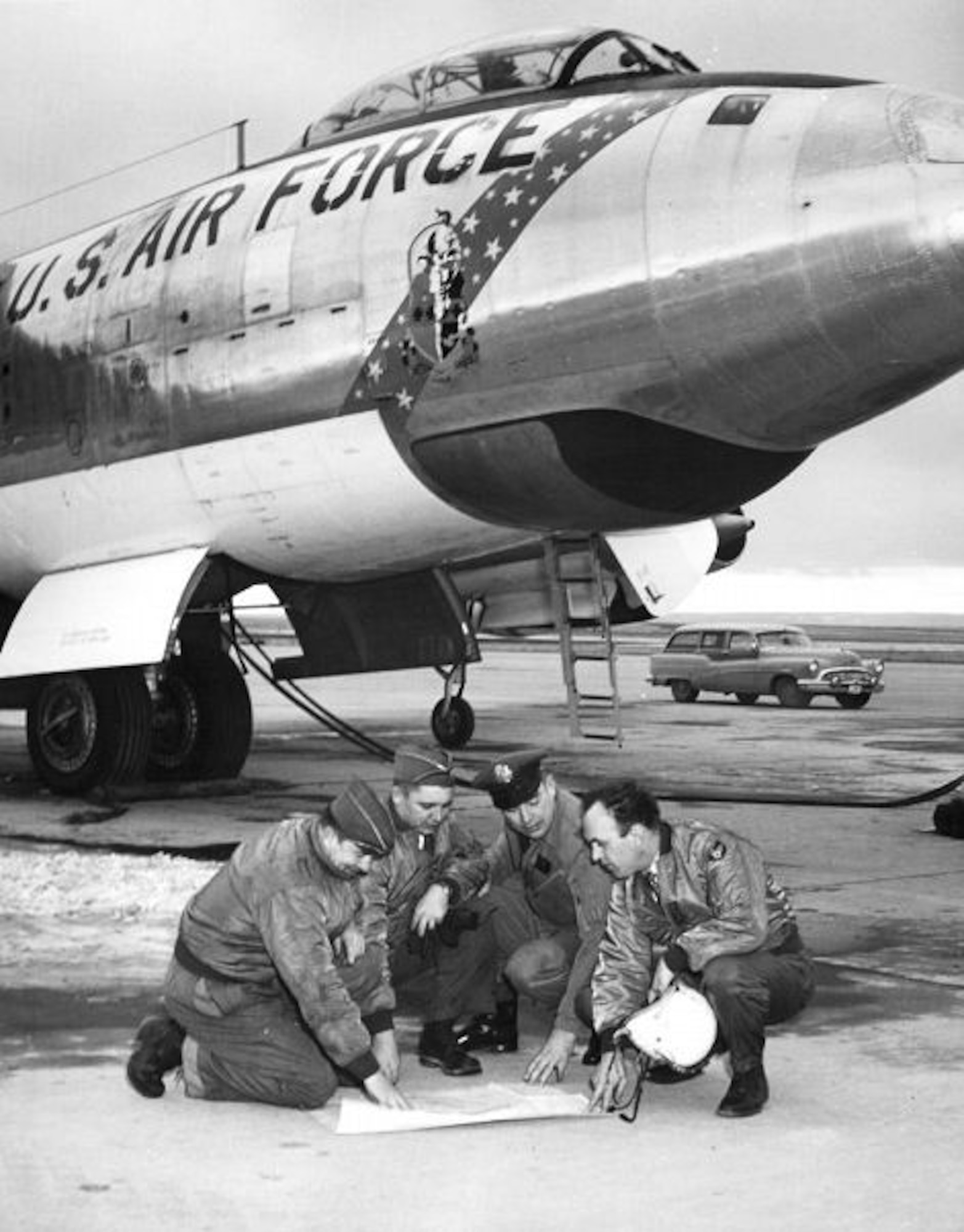 Crew members in front of a B-47E Stratojet of the 1st Bombardment Squadron, 9th Bombardment Wing at Mountain Home Air Force Base, Idaho, 1956. (U.S. Air Force Courtesy Photo)