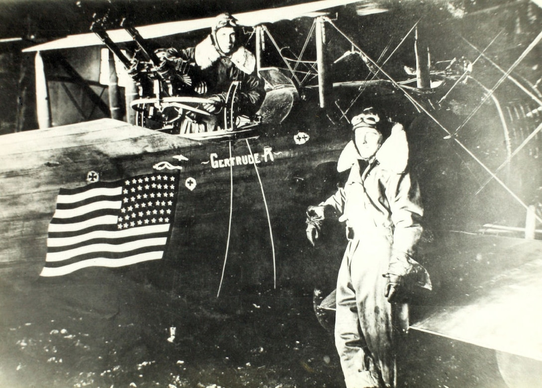 Crew members of the 1st Aero Squadron next to a Salmson 2A2 painted with the American flag squadron emblem during World War I in France, 1918. (U.S. Army Air Service Courtesy Photo)