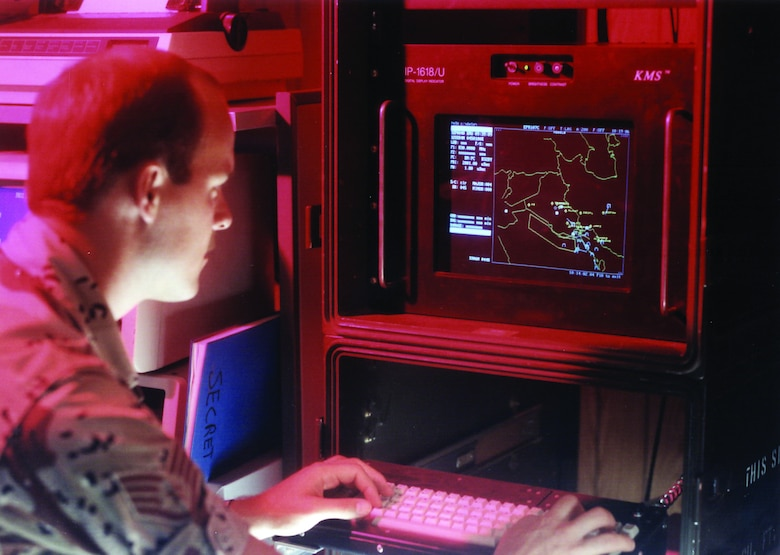 An Airmen from an Electronic Security Command ESC unit analyses data in support of Central Command missions.