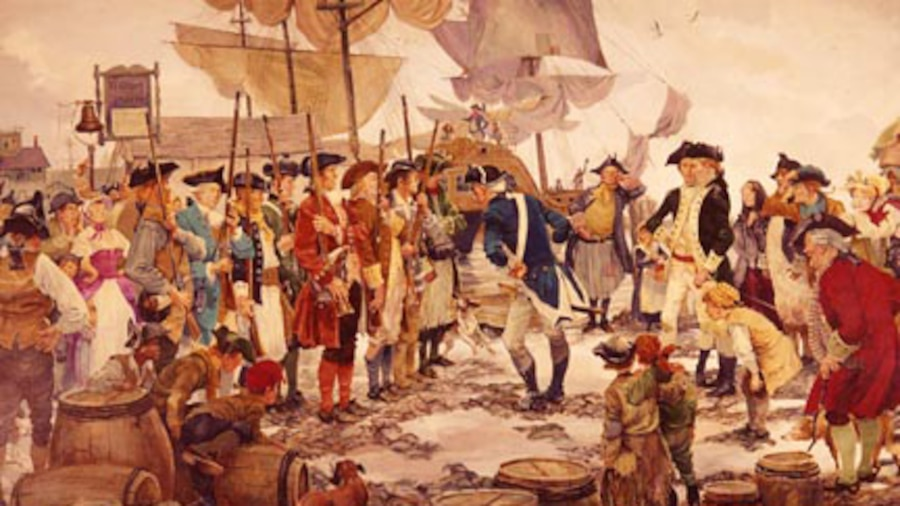 A painting shows men in colonial garb gathered outside, with ship masts in the background.