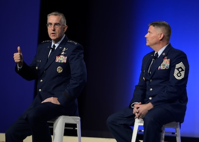 Four-star Air Force general and Air Force command chief master sergeant speak at Air Force Association conference.