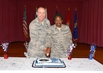 "Air Force Col. John Waggoner, director, Customer Operations, Defense Logistics Agency Aviation and Air Force Staff Sgt. Sabrina Cayetano, Military personnel Non-Commissioned Officer in Charge, Manpower Support Branch, Command Support Directorate, Defense Logistics Agency Aviation, cut the cake celebrating the Air Force's 71st birthday as the oldest and youngest Air Force members at the celebration. This year's birthday theme is ""American Airman … Wingman, Leader, Warrior."" The celebration took place in the old Center Restaurant on Defense Supply Center Richmond, Virginia, Sept.18, 2018. (Photo by Jackie Roberts)"