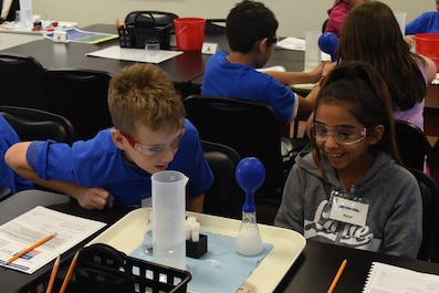 Fifth graders learn about chemical reactions and gasses by observing changes in a balloon during their time at STARBASE at Goodfellow Air Force Base, Texas, Sept. 7, 2018. While attending STARBASE, the students learned about, science, technology, engineering and mathematic principles and applied them through experiments. (U.S. Air Force photo by Airman 1st Class Zachary Chapman/Released)