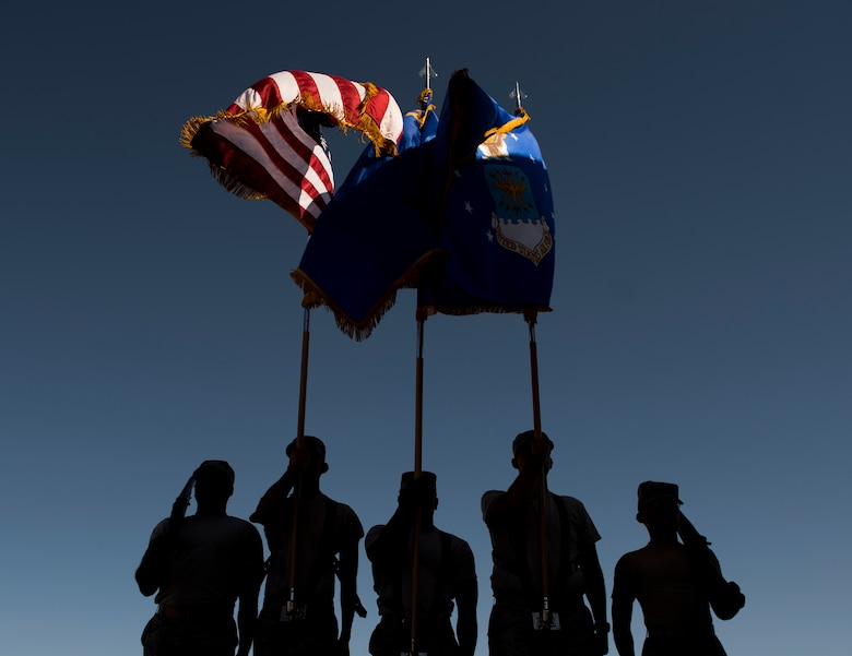 Nellis Air Force Base honor guardsmen practice presenting the colors at Nellis AFB, Nevada, Sept. 12, 2018. The Honor Guard is responsible for rendering military honors for funeral services and various Air Force ceremonies. (U.S. Air Force photo by Airman 1st Class Andrew D. Sarver)