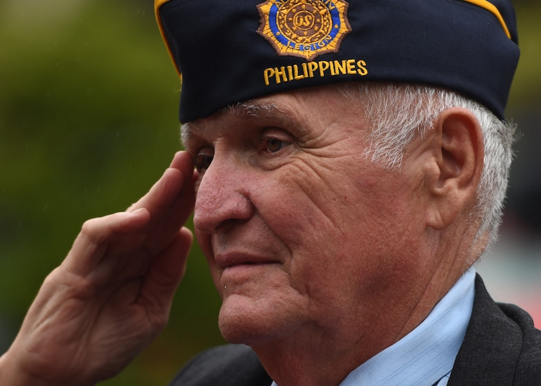 U.S. Air Force veteran Chris Vaia renders a salute during the playing of the U.S. national anthems at a prisoner of war and missing in action remembrance ceremony at Osan Air Base, Republic of Korea, Sept. 20, 2018. According to the Defense POW/MIA Accounting Agency, more than 82,000 Americans remain missing from WWII, the Korean War, Vietnam War, Cold War, Gulf Wars and other recent conflicts. (U.S. Air Force photo by Staff Sgt. Sergio A. Gamboa)