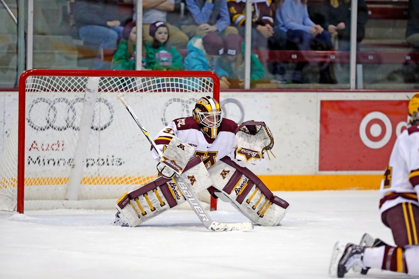 Air Force 2nd Lt. Sidney Peters, who just began her studies as a first-year medical student at the Uniformed Services University of the Health Sciences in Bethesda, Md., is shown in her goalie gear as a member of the University of Minnesota women's ice hockey team. Peters has been named as one of the NCAA's Top 30 Woman of the Year honorees. NCAA/University of Minnesota courtesy photo by Sarah E. Marshall