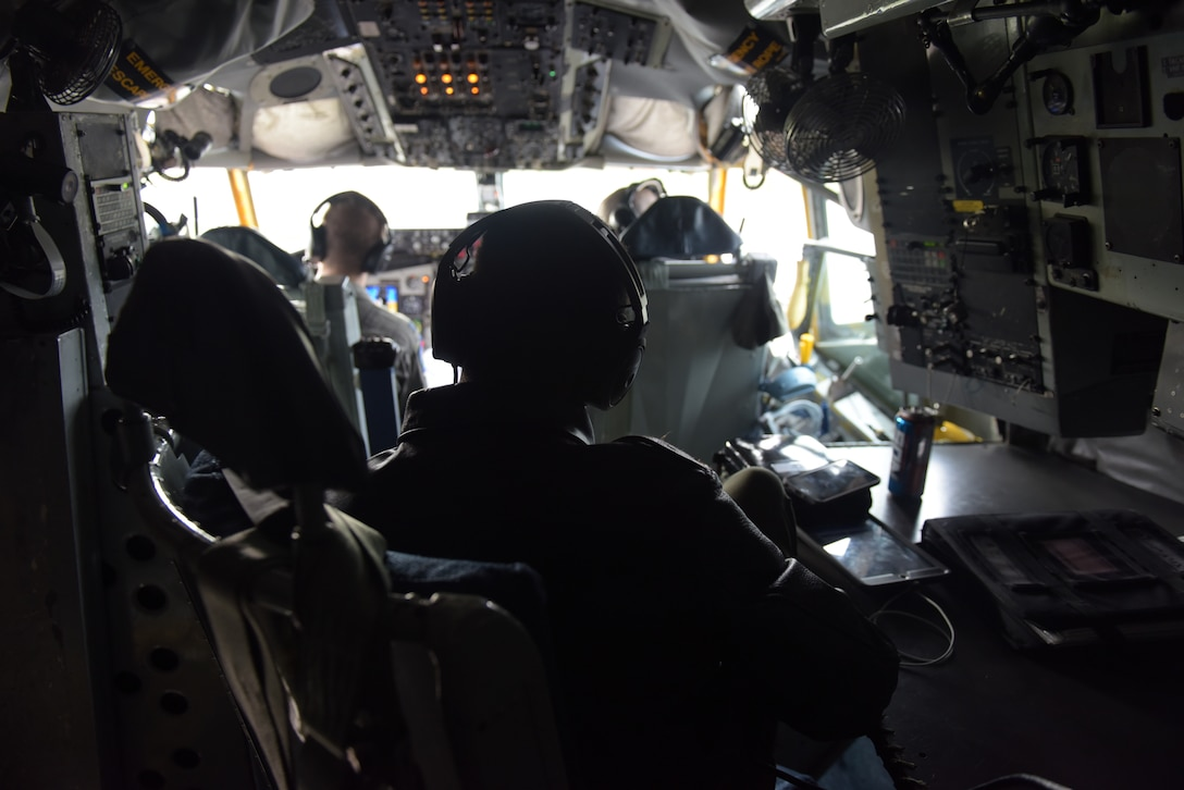 U.S. Air Force air crew from 100th Air Refueling Wing prep the KC- 135 Stratotanker for takeoff in support of exercise One Sky at RAF Mildenhall, England, Sept. 19, 2018. One Sky exercise is an example of U.S. and NATO allies sharing a commitment to promote peace and stability through developing their relationship and communication process. (U.S. Air Force photo by Airman 1st Class Alexandria Lee)