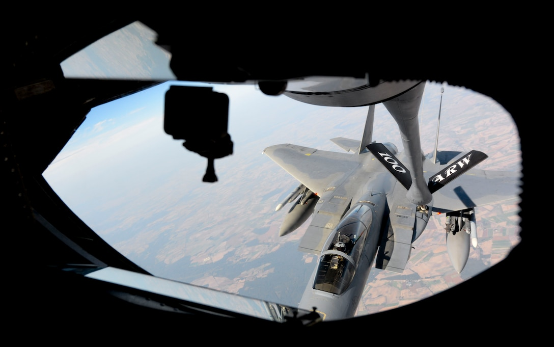 A U.S. Air Force F-15C Eagle assigned to RAF Lakenheath, England, receives gas from a KC-135 Stratotanker from the 100th Air Refueling Wing, in support of exercise One Sky over Poland, Sept. 19, 2018. The U.S. regularly conducts training with NATO allies and partners in the region, One Sky demonstrates the U.S .commitment to the NATO alliance and enhancing regional security. (U.S. Air Force photo by Airman 1st Class Alexandria Lee)