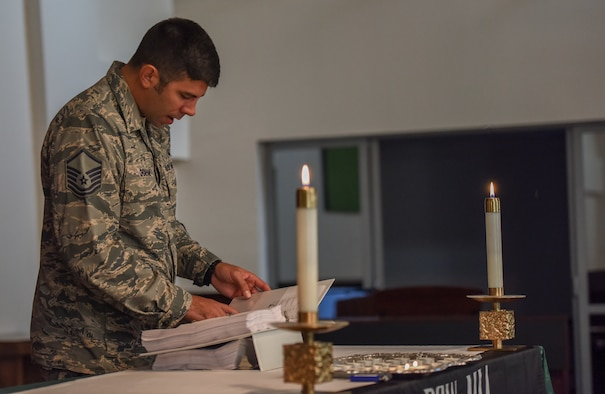 Airman recites of POW/MIA service members during the POW/MIA ceremony at Incirlik Air Base, Turkey