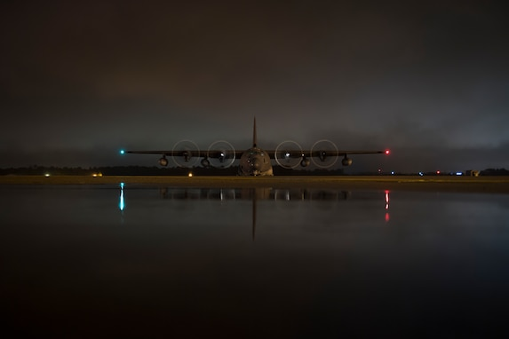An HC-130J Combat King II assigned to the 334th Air Expeditionary Group prepares to return to Moody Air Force Base, Ga., after dropping off personnel and equipment pre-positioned to provide relief in the wake of Hurricane Florence, Sept. 15, 2018, at Joint Base Charleston, S.C. The 334th AEG is an expeditionary search and rescue unit comprised of 23rd Wing and 920th Rescue Wing personnel and assets ready to perform surface, fixed wing and rotary SAR operations when needed. (U.S. Air Force photo by Staff Sgt. Ryan Callaghan)
