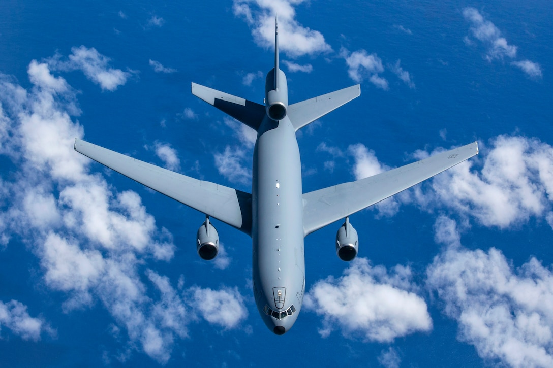 A KC-10 Extender crewed by Reserve Airmen with the 76th Air Refueling Squadron, departs after being refueled by a KC-10 crewed by Airmen with the 78th ARS, both with the 514th Air Mobility Wing, during a training mission over the East Coast Sept. 16, 2018. The 514th AMW is an Air Force Reserve Command unit located at Joint Base McGuire-Dix-Lakehurst, N.J. (U.S. Air Force photo by Master Sgt. Mark C. Olsen)