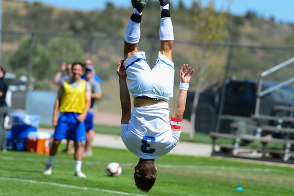 Austin Dewing celebrates a score by performing a backflip during the Sept. 16, 2018, contest against Harvard University at the Cadet Soccer Stadium, at the U.S. Air Force Academy, Colorado Springs, Colo. The 23rd ranked Air Force Falcons defeated the Harvard University Crimson by a score of 6-1. (U.S.Air Force photo by Bill Evans)