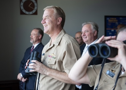 PANAMA CITY, Florida — Naval Surface Warfare Center Panama City Division (NSWC PCD) welcomed Program Executive Officer, Unmanned and Small Combatants Rear Adm. John Neagley and Program Manager, Mine Warfare (PMS495) Capt. Danielle George Sept. 20, 2018. During the visit, Neagley and George learned how NSWC PCD is expanding the Navy's advantage through mine warfare and various other command mission areas. U.S. Navy photo by Eddie Green