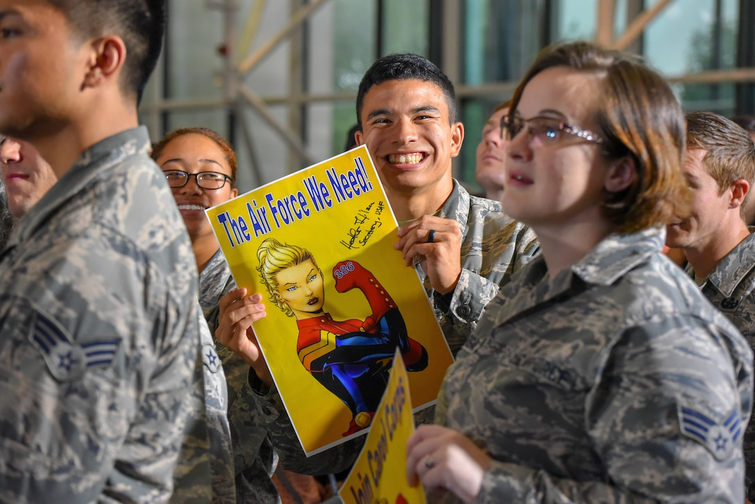Air Force District of Washington Airmen celebrated the Air Force's 71st birthday by attending a special screening of the Captain Marvel trailer at the National Air and Space Museum, Smithsonian Institution, hosted by Good Morning America Sept. 18, 2018. As the first female character to headline a Marvel franchise, Capt. Carol Danvers (actress Brie Larson) exemplifies the barrier-breaking spirit found in every generation of Airmen going back to 1947. (U.S. Air Force photo by 2nd Lt Jessica Cicchetto)