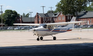 U.S. Air Force Lt. Col. Timothy Hall, U.S. Strategic Command training branch chief, parks Cessna 172 aircraft Sept. 14, 2018, at the LeMay Aero Club on Offutt Air Force Base, Nebraska. After becoming certified pilots are qualified to rent planes from the club to travel anywhere in the lower 48 states with friends or family, under Visual Flight Rule restrictions. (U.S. Air Force photo by Charles J. Haymond)