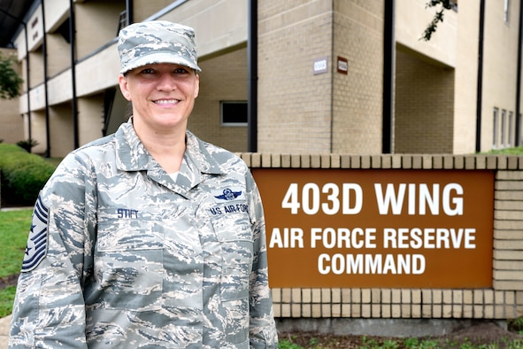 Chief Master Sgt. Amanda Stift was selected in April 2018 to be the 403rd Wing's new command chief master sergeant at Keesler Air Force Base, Mississippi. She is scheduled to begin serving officially in that role Nov. 1, 2018. (U.S. Air Force photo by Tech. Sgt. Ryan Labadens)