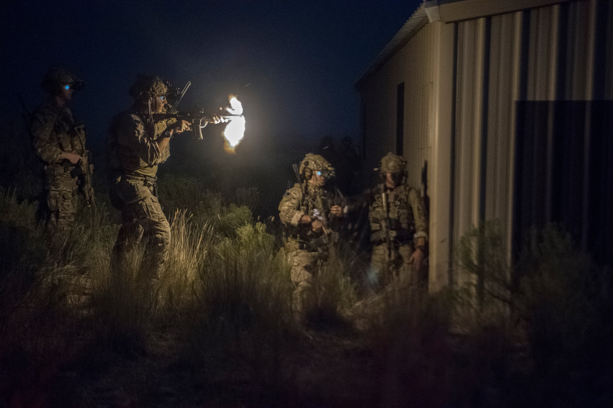 A Special Tactics Airman with the 17th Special Tactics Squadron fires an M4 carbine during Jaded Thunder at Mountain Home Air Force Base, Idaho, Aug. 20, 2018.