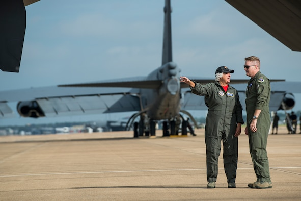 Mrs. Susan d'Olive talks with U.S. Air Force Reserve Lt. Col. Bryan Bailey, 93rd Bomb Squadron commander, prior to a flight on a B-52H Stratofortress, Sept. 21, 2018 at  Barksdale Air Force Base, Louisiana. Mozena's father, Lt. Charles d'Olive, was a pilot assigned to the 93rd Pursuit Squadron in France during World War I and was the last ace of that conflict. (U.S. Air Force photo by Master Sgt. Greg Steele)