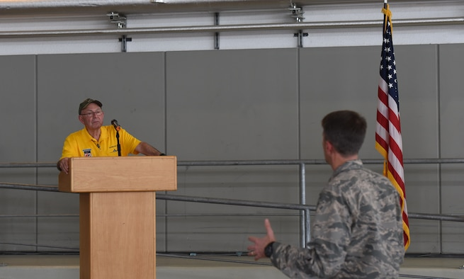 U.S. Air Force Col. Brad Spears, 521st Air Mobility Operations Wing commander, asks retired U.S. Air Force Maj. Joe Crecca a question about his experience as a prisoner or war during a speaking session on Ramstein Air Base, Germany, Sept. 17, 2018. After 75 successful combat missions, Crecca was shot down by enemy fire while flying his F-4 aircraft over North Vietnam. (U.S. Air Force photo by Airman 1st Class Kristoff Rixmann)
